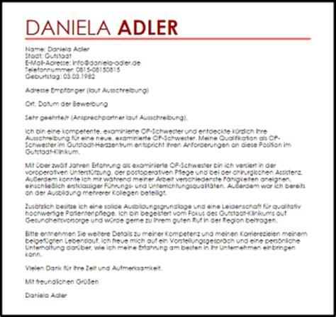 Anschreiben Bewerbung Ota Operationstechnische Assistentin Bewerbung Fr Ausbildung