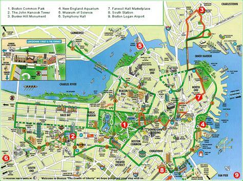 printable map boston walking map of boston printable printable tourist map of
