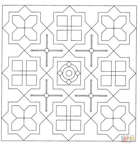 coloring squares square mandala coloring page free printable coloring pages