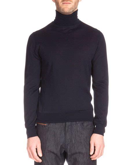 Sweater Elegan Turtle Navy berluti knit blazer with leather trim sleeve