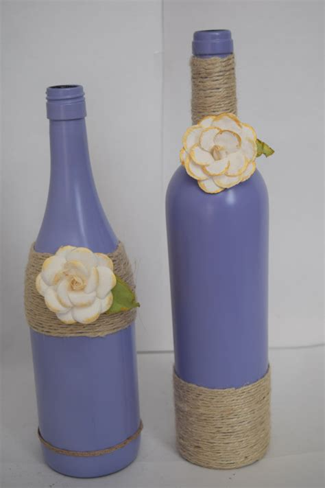 wine bottle home decor decorative wine bottles home decor purple by rusticchicbytanya