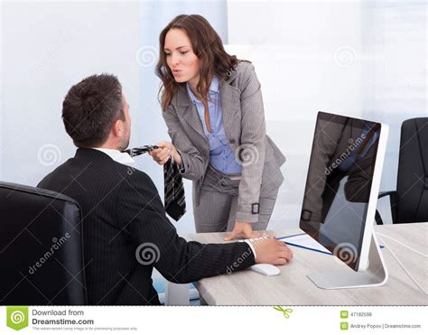business flirting in office stock photo image