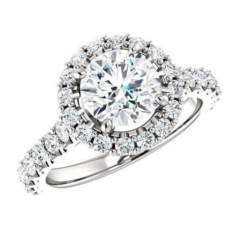 2.06 Carat TW Diamond & Halo Engagement Ring 18k White