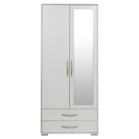 White Wardrobe With Drawers And Mirror by Buy Newport Wardrobe With 2 Drawer White Mirror