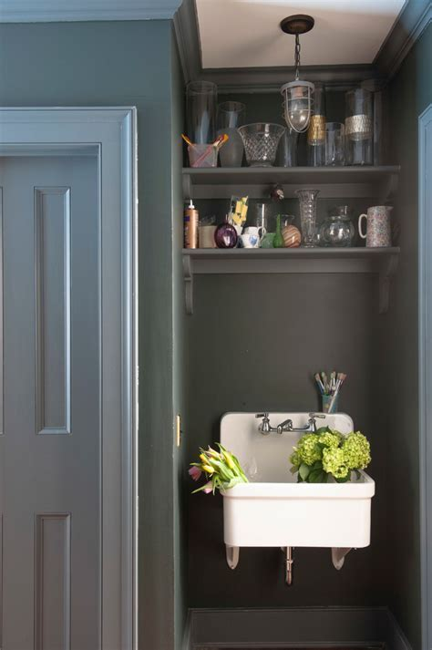 small utility sink Laundry Room Farmhouse with blue island