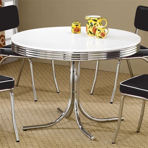 Shop Coaster Fine Furniture Retro Round Dining Table At Furniture Kitchen Tables
