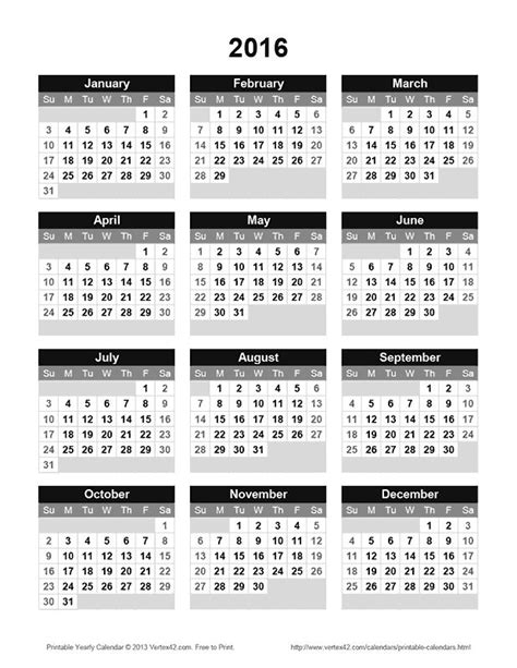 calendar template by vertex42 25 best ideas about 2016 yearly calendar on