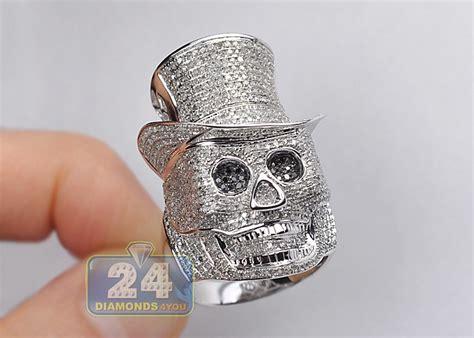 10k white gold 3 40 ct black mens skull ring