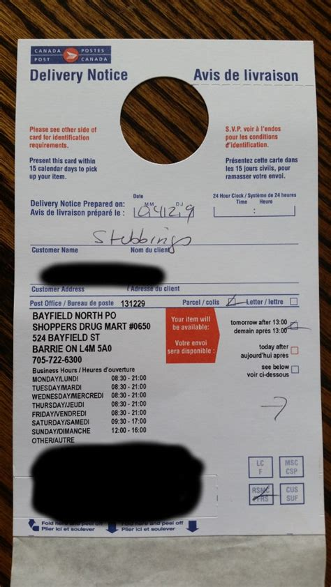 door to door delivery post office canada post bogus delivery attempt on