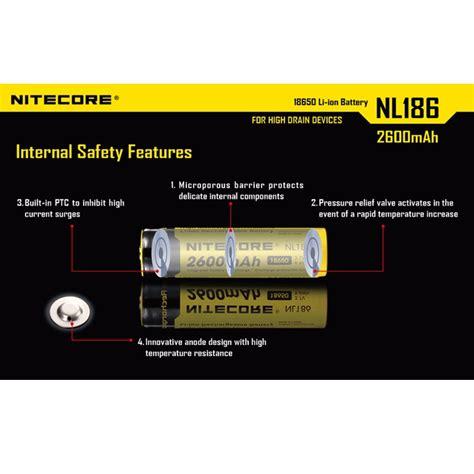 Nitecore 18650 Baterai Li Ion 2600mah 3 7v Nl1826 Promo nitecore 18650 rechargeable li ion battery 2600mah 3 7v nl186 black yellow jakartanotebook