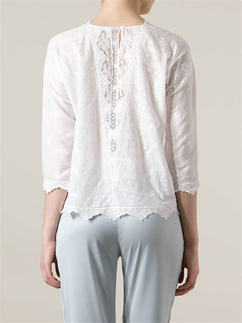 White Embroidered Blouse by Lyst Bruno Albane Embroidered Blouse In White