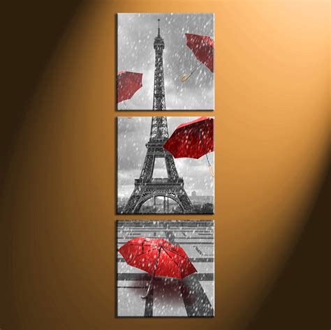 decoration piece 3 piece eiffel tower black and white huge pictures