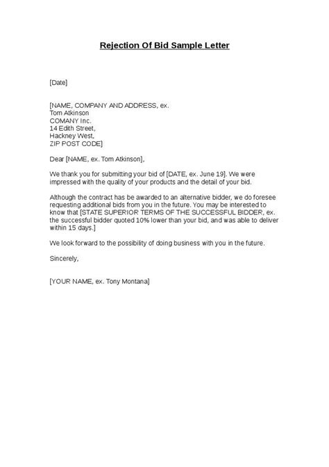 Decline Letter Tender Invitation To Bid Letter Template Docoments Ojazlink