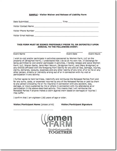 waiver agreement template farm visitor waiver and release of liability