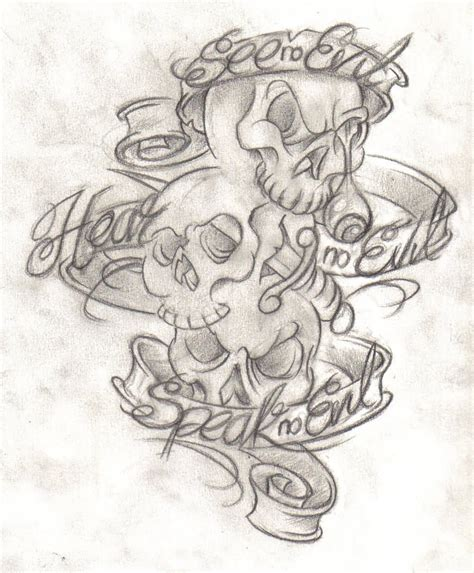 evil angel tattoo designs see no evil design
