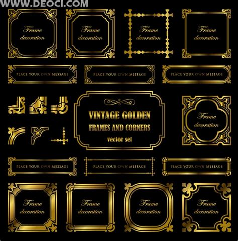 european style gold frame pattern vector vector gold frame and corners set eps modification