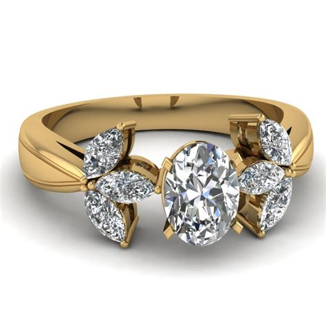 oval shaped side engagement rings with white