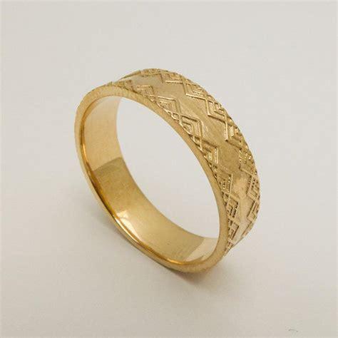 Pattern Gold Wedding Ring | men s wedding ring 14 karat solid gold wedding ring gold