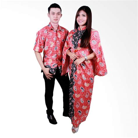 Baju Batik Sarimbit Merah jual batik putri ayu sarimbit gamis srg103 baju batik