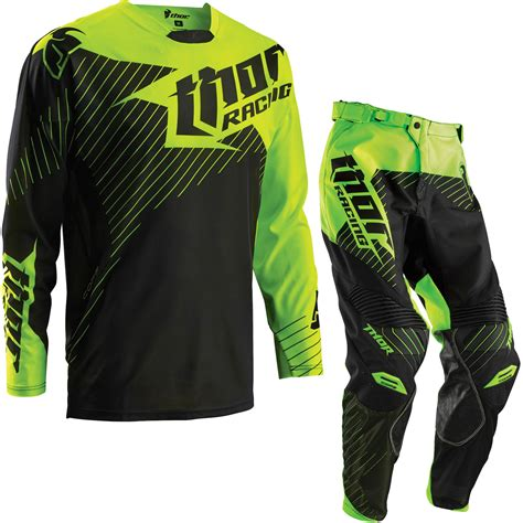 green motocross gear thor core 2016 hux black flo green motocross kit shirt