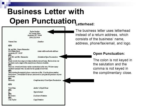 personal business letter open punctuation activity open punctuation business letter the letter sle