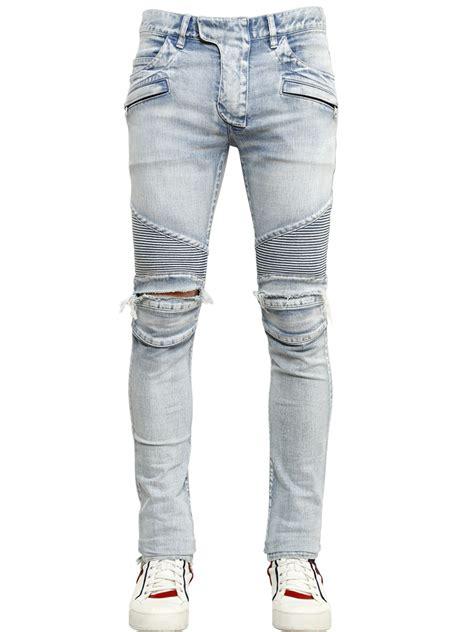 light blue ripped jeans mens lyst balmain 17cm destroyed stretch denim biker jeans in