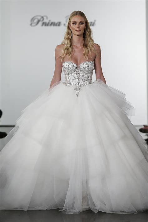 layered tulle ball gown wedding dress  crystal