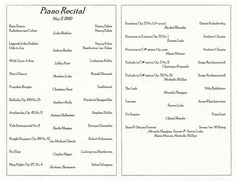 Best Photos Of Piano Recital Program Sle Piano Recital Program Template Piano Recital Recital Program Template