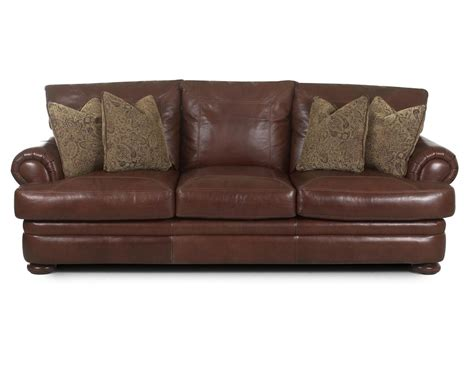 Klaussner Leather Sofas Klaussner Montezuma Casual Style Leather Sofa With Bun Dunk Bright Furniture Sofas