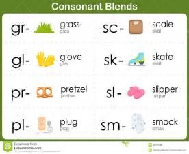 consonant blends worksheet for kids stock vector image