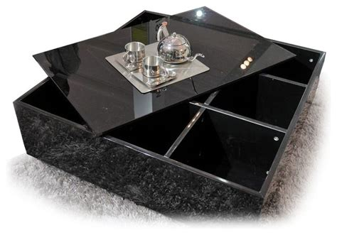 modern black square glass top coffee table with storage