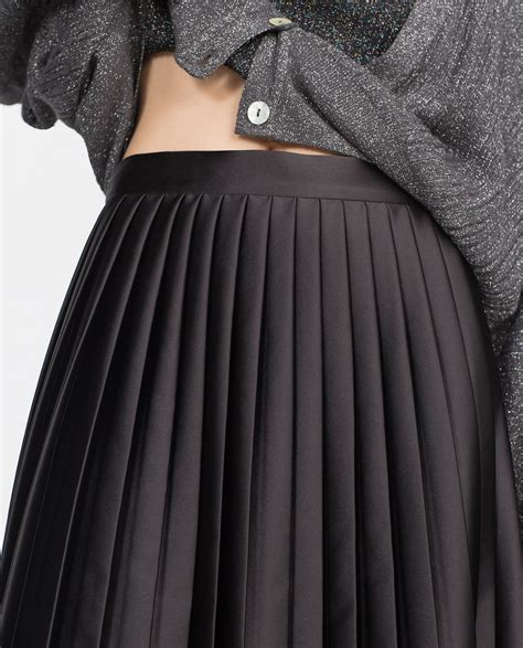 zara black pleated midi skirt m new ebay