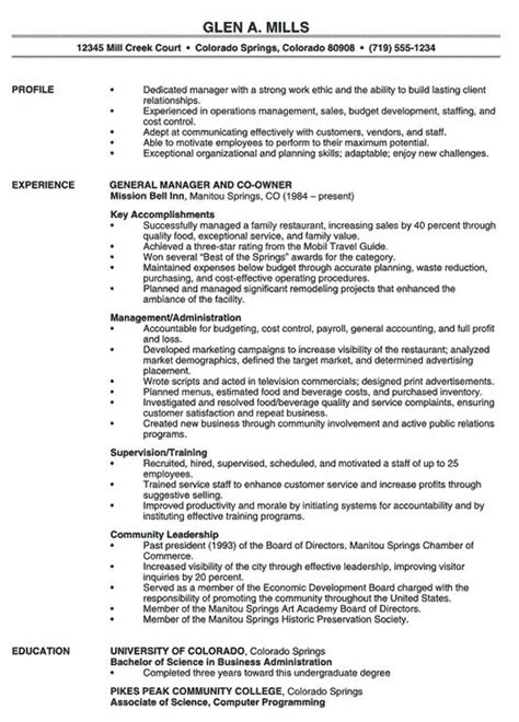 restaurant manager resume exle professional resume