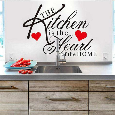 Kitchen heart removable wall stickers quotes decal art mural