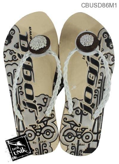 sandal etnik tali kepang motif becak jogja sandal etnik