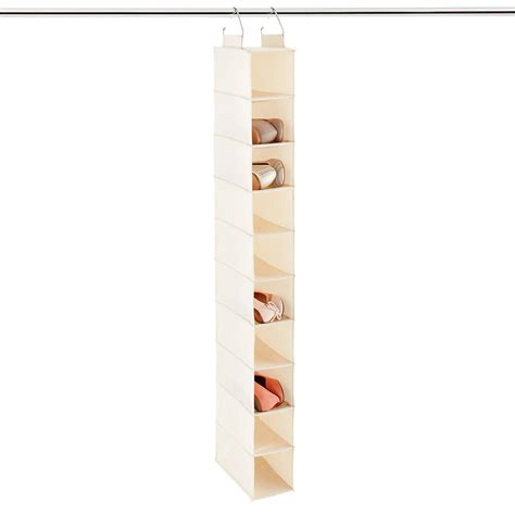 hanging shoe caddy 10 compartment natural canvas hanging shoe organizer the