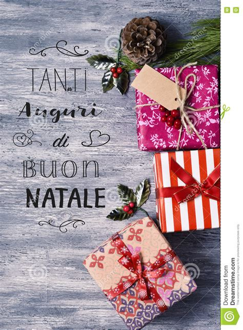 text tanti auguri  buon natale merry christmas  italian stock photo image  package