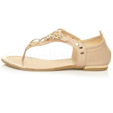 gold low heel sandals womens flat low heel diamante gold chain t bar toe post
