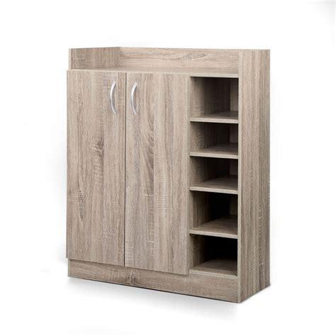 2 Door Shoe Cabinet Storage Cupboard Wood   The Storage Queen