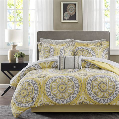 Bedding Sets by Beautiful Modern Tropical Bed In A Bag Yellow Grey