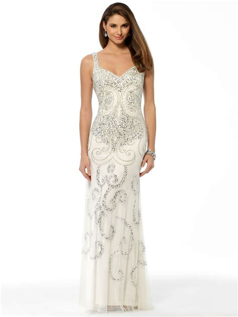 Found Ports Beaded Dress by Prom White Beaded Pattern Gown Cach 233 S Prom