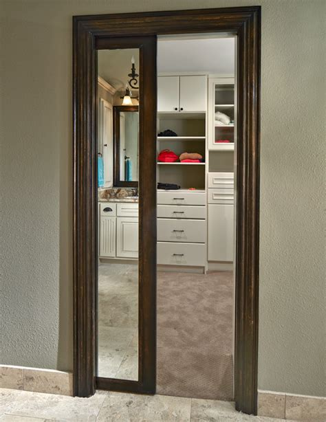 Pocket Doors For Closets Shepard Framed Mirror Pocket Door Transitional Closet Dallas By Design Build