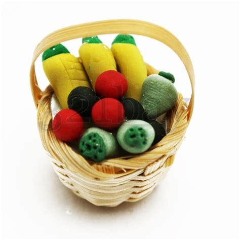 Miniature Cooking With Master small wicker boxes with miniature clay food 321 miniature