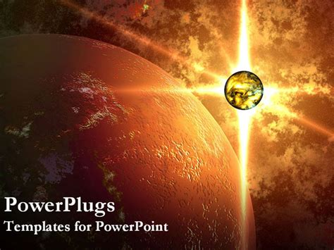 powerpoint themes universe powerpoint template glowing planet beside large planet