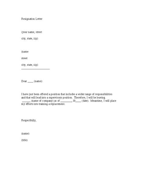 fill in the blank simple resignation letter template to