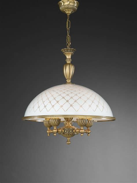 5 Light L by 5 Lights Brass Pendant L With Engraved White Glass 48