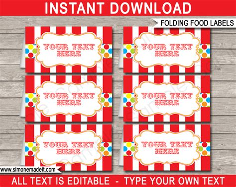 carnival party food labels place cards party decorations