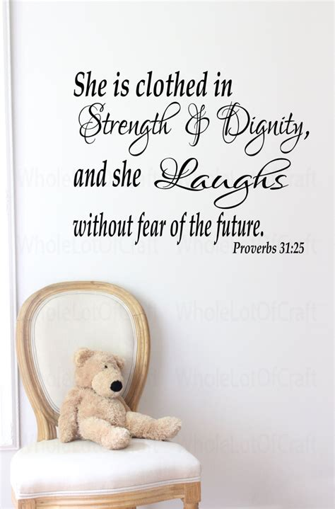 wall quotes for girls bedroom girls bedroom wall quote proverbs 31 25 wall decal bible