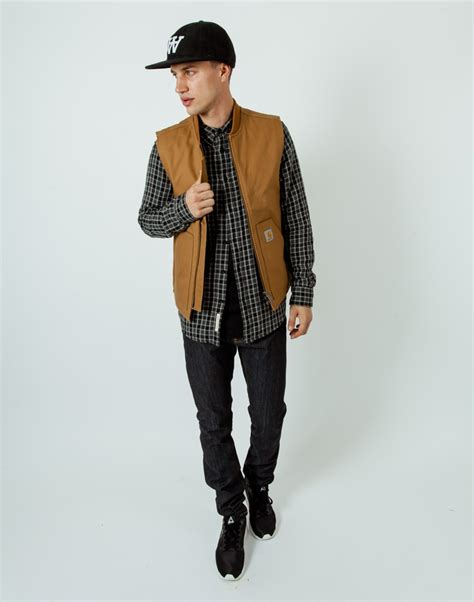 Sweater Carhart Roffico Cloth carhartt wip cotton workwear vest in brown for lyst