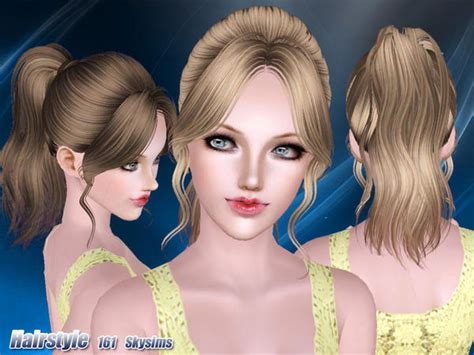 small ponytail hairstyle 228 by skysims sims 3 hairs classic ponytail with huge bangs hairstyle 161 by skysims